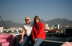 Us on the roof balcony at our friends in Changwon